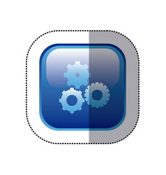 sticker blue square frame with pinions set icon vector image