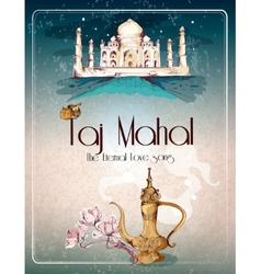 Taj Mahal retro poster vector