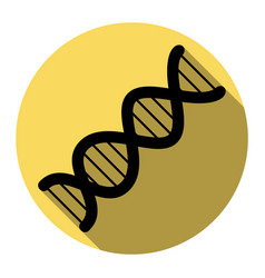 the dna sign flat black icon with flat vector image