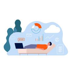 tired man freelancer remote worker sleep on sofa vector image