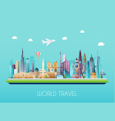 Travel on world concept tourism flat vector