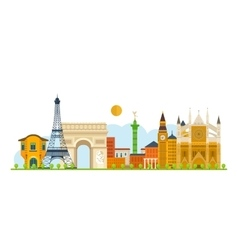 Travel to Europe French and England landmarks vector image