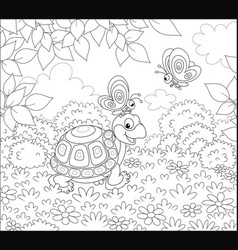 Turtle and butterflies vector