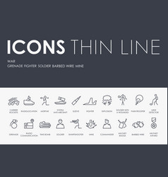 war thin line icons vector image