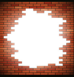 White hole in red brick wall vector
