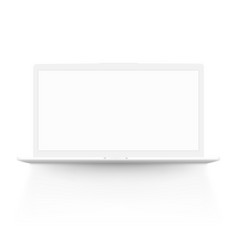 white laptop notebook with shadow front view vector image