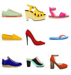 Woman colorful shoes set in cartoon style vector