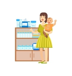 Woman With A Baby Shopping For Baby Food Shopping vector