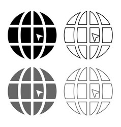 world with arrow world click concept website icon vector image