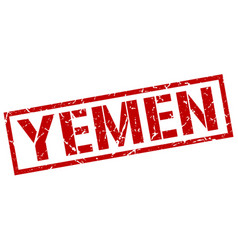 Yemen red square stamp vector