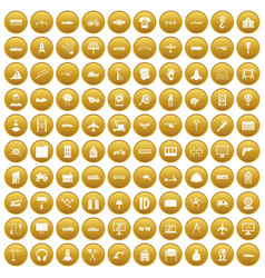 100 engineering icons set gold vector