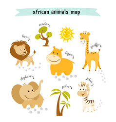 african animals map with trees and footprints vector image vector image