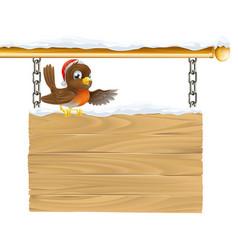 christmas santa hat bird on sign vector image vector image