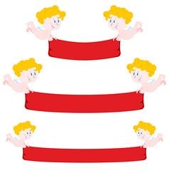 Cupid and red Ribbon Set Ribbon varying length vector image vector image
