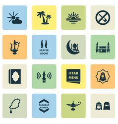 religion icons set collection of pray lamp vector image vector image