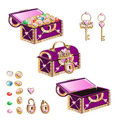 treasure chest with pink jewelry vector image