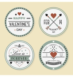 Valentines day and romantic retro badges set vector image vector image