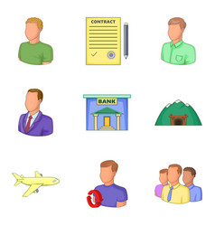 bank clerk icons set cartoon style vector image vector image