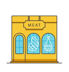 butcher shop butchery meat business flat line vector image vector image