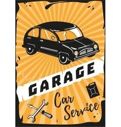 Garage Vintage poster with a retro car vector image