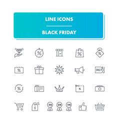 line icons set black friday vector image