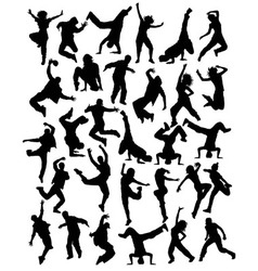 Modern Dancing Hobbies Silhouettes vector image vector image