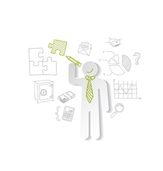 Paper man puzzles and business graphics Marketing vector image vector image