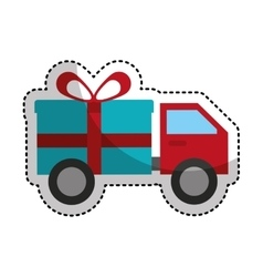 truck with gift isolated icon vector image