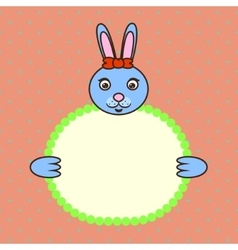 Blue bunny holding banner card in paws Birthday vector image