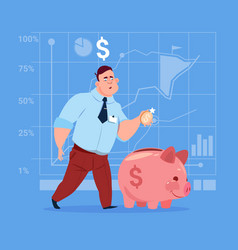 business man put coin piggy bank money investment vector image vector image