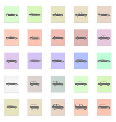 car set black icon on color sticker vector image
