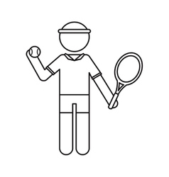 character player tennis and ball racket ouline vector image vector image