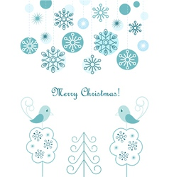 Christmas balls and snowflakes background vector image vector image