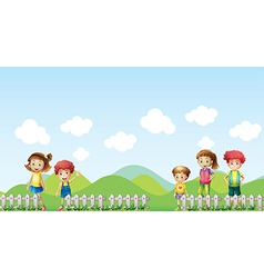 Five children in the farm vector image vector image