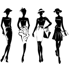Black and white retro fashion models in sketch vector image vector image