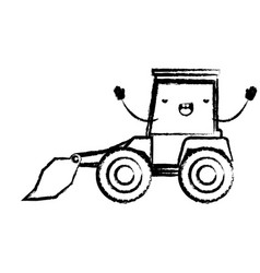 bulldozer flat icon monochrome cartoon blurred vector image