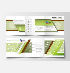 Business templates tri fold brochures square vector