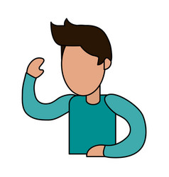 color image cartoon faceless man with t-shirt and vector image