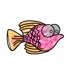 color pencil drawing of small fish with big eyes vector image vector image
