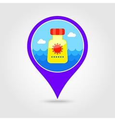 Sunscreen pin map icon Summer Vacation vector image vector image