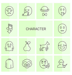 14 character icons vector