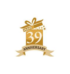 39 years gift box ribbon anniversary vector