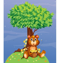 A bear holding a honey under a tree vector image