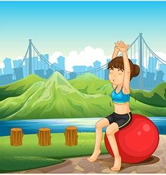 A girl exercising near the river across vector