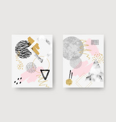 abstract contemporary art posters with marble vector image