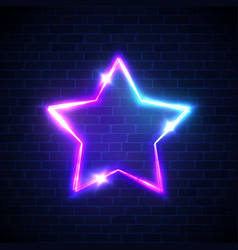 Abstract star neon signage techno glowing frame vector