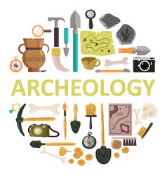 Archaeology icon set isolated vector
