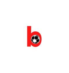 b letter logo football ball logo design vector image