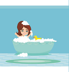 Baby girl taking bath and playing vector