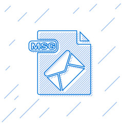 Blue line msg file document download msg button vector